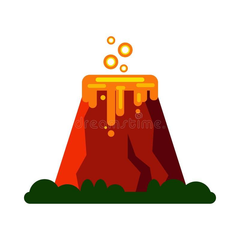 Извержение вулкана с горячей лавой - vector иллюстрация Значок горы изолированный на белой предпосылке иллюстрация вектора