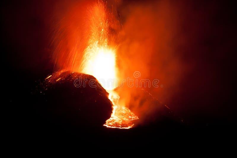 извержение etna стоковые изображения rf