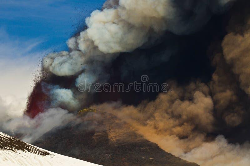 Извержение etna стоковое изображение rf