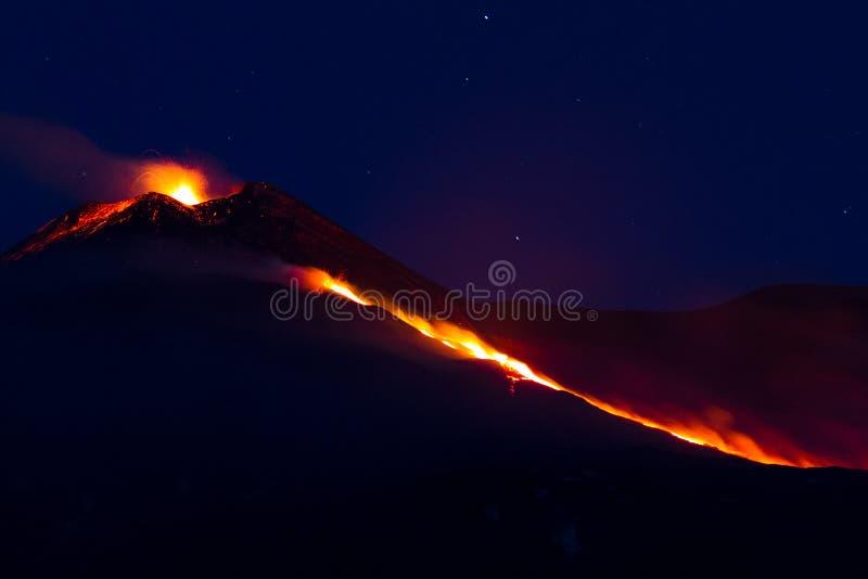 Извержение Mount Etna стоковое фото