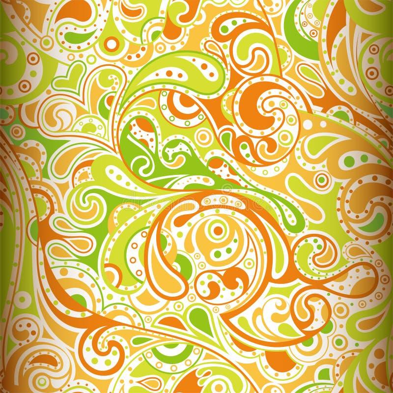 Известка и померанцовый Paisley иллюстрация вектора
