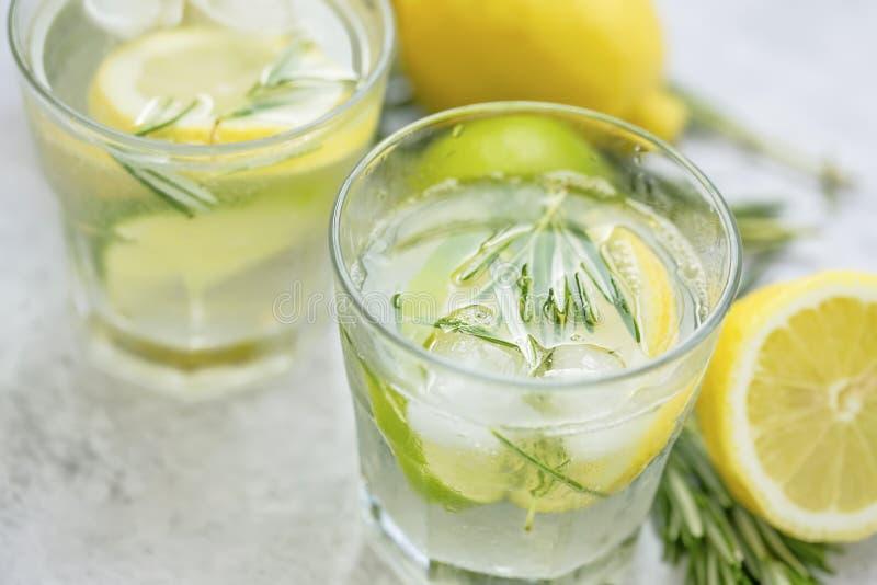 Известка, лимон, лимонад с кубами льда, освежая напиток розмаринового масла лета стоковая фотография rf