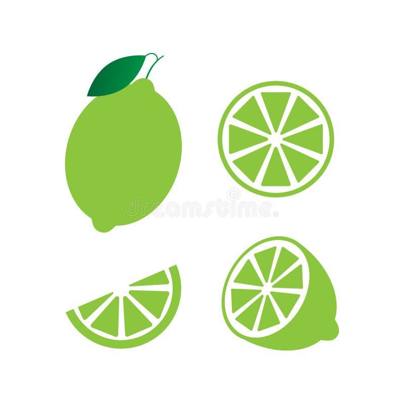 Известка с зелеными листьями, цитрус куска изолированный на белой предпосылке Тропические плоды Сырцовая и вегетарианская еда r бесплатная иллюстрация