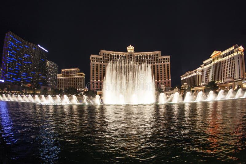 Известная гостиница Bellagio с играми воды в Лас-Вегас стоковое изображение rf