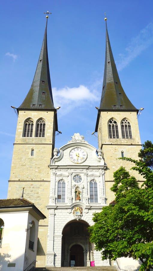Известная историческая церковь в Люцерне стоковая фотография rf