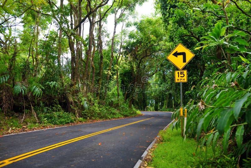 Известная дорога к Гане чреватой с узкими мостами одн-майны, поворотами hairpin и неимоверными взглядами острова, Мауи, Гаваи стоковые фотографии rf