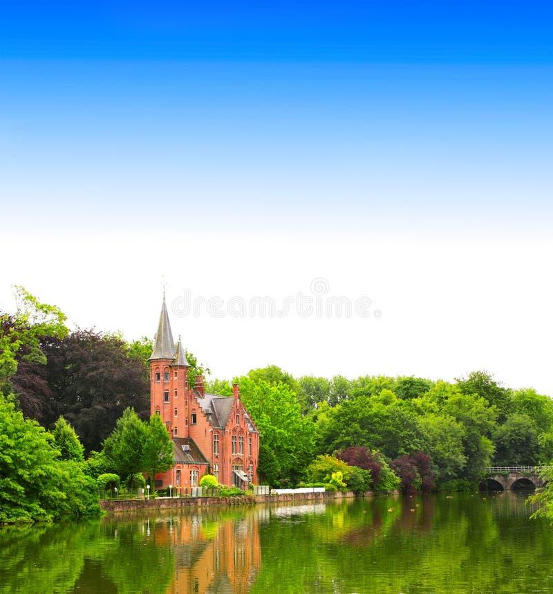Известное озеро влюбленности в Брюгге, Бельгии стоковое фото rf
