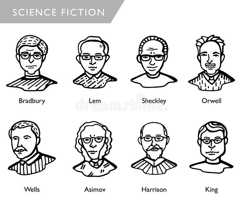 Известные писатели научной фантастики, портреты вектора, Bradbury, Lem, Sheckley, Orwell, Wells, Asimov, Harrison, король бесплатная иллюстрация