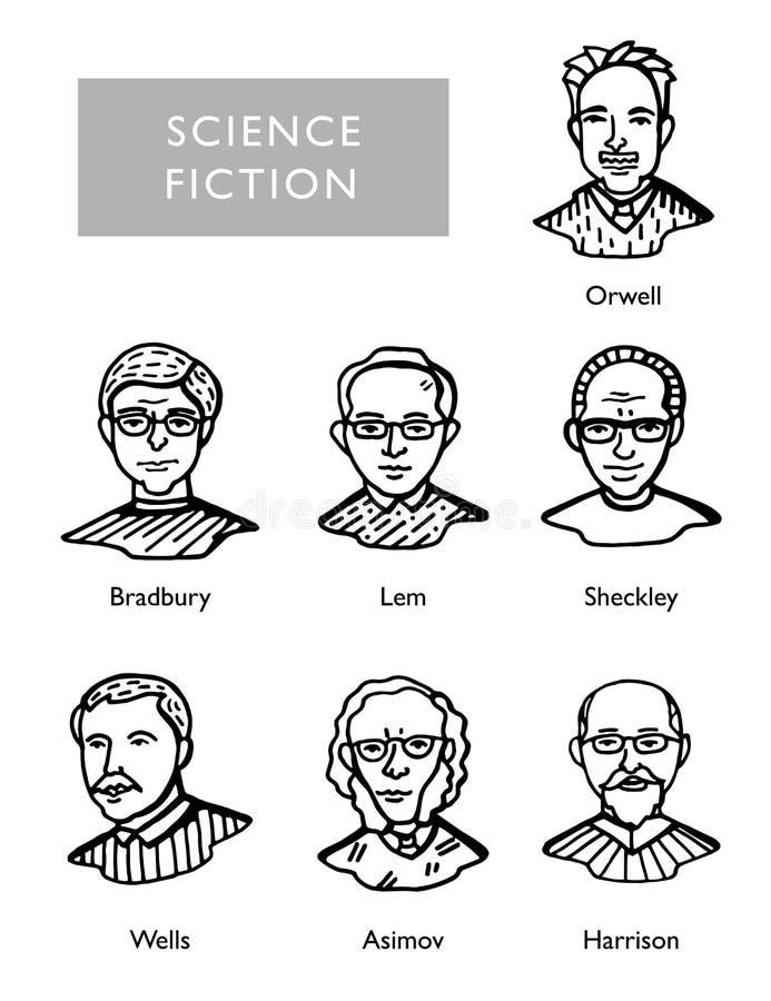 Известные писатели научной фантастики, портреты вектора, Bradbury, Lem, Sheckley, Orwell, Wells Asimov Harrison бесплатная иллюстрация