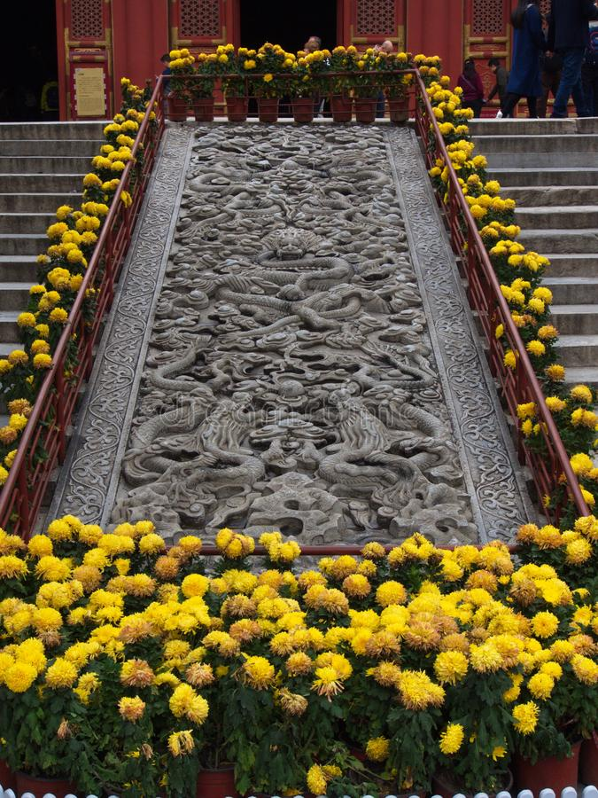 Известный висок Конфуция в Пекине с деталью двери a стоковое фото rf