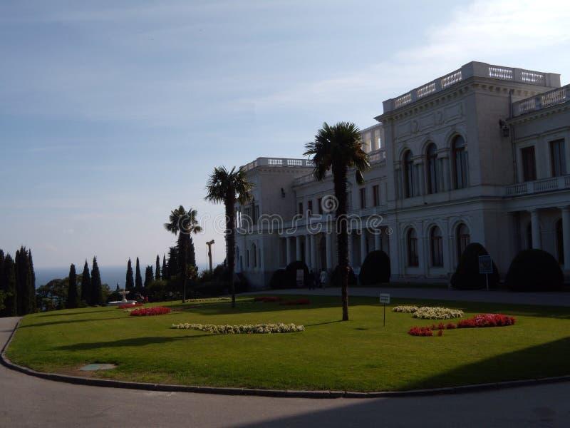 Известный дворец Livadia в Крыме, России Оно одна из главных достопримечательностей Крыма Сценарный взгляд дворца Livadia, стоковые изображения rf