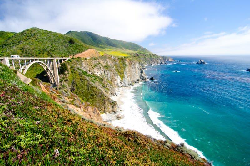Известный мост Bixby на трассе 1 положения Калифорнии стоковое изображение rf
