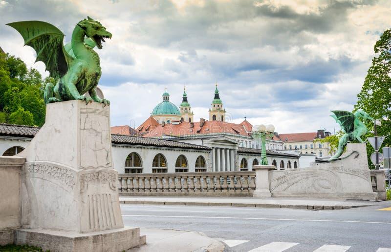 Известный мост Zmajski дракона больше всего стоковое изображение rf