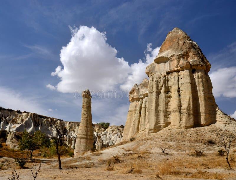 Известный ориентир ориентир Cappadocian, уникально штендеры вулканической породы, Турция стоковые фото