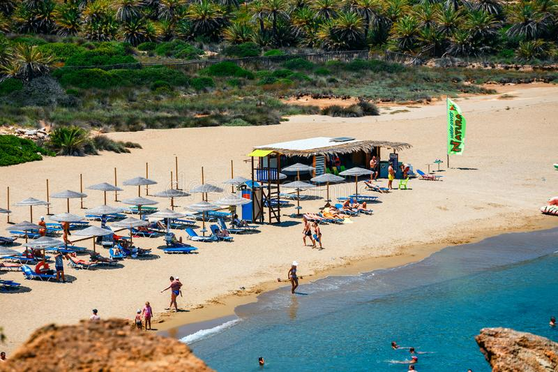 Известный пляж на Vai с красивым лесом ладони на восточном Крите, Греции стоковое изображение rf