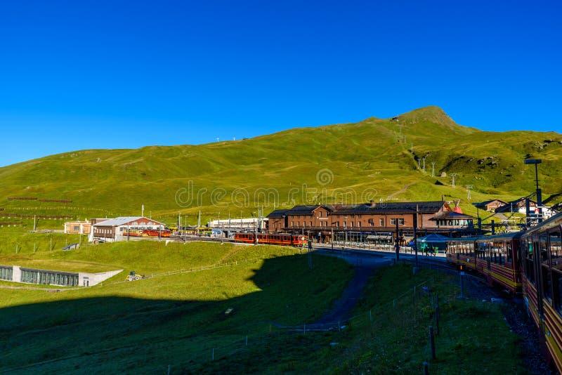 Известный поезд между Grindelwald и станцией Jungfraujoch - железная дорога, который нужно покрыть Европы, Швейцарии стоковая фотография rf