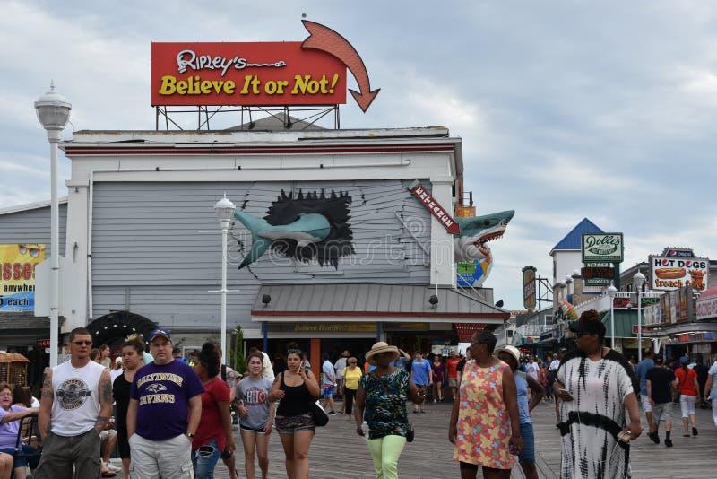 Известный променад в городе океана, Мэриленде стоковые фотографии rf