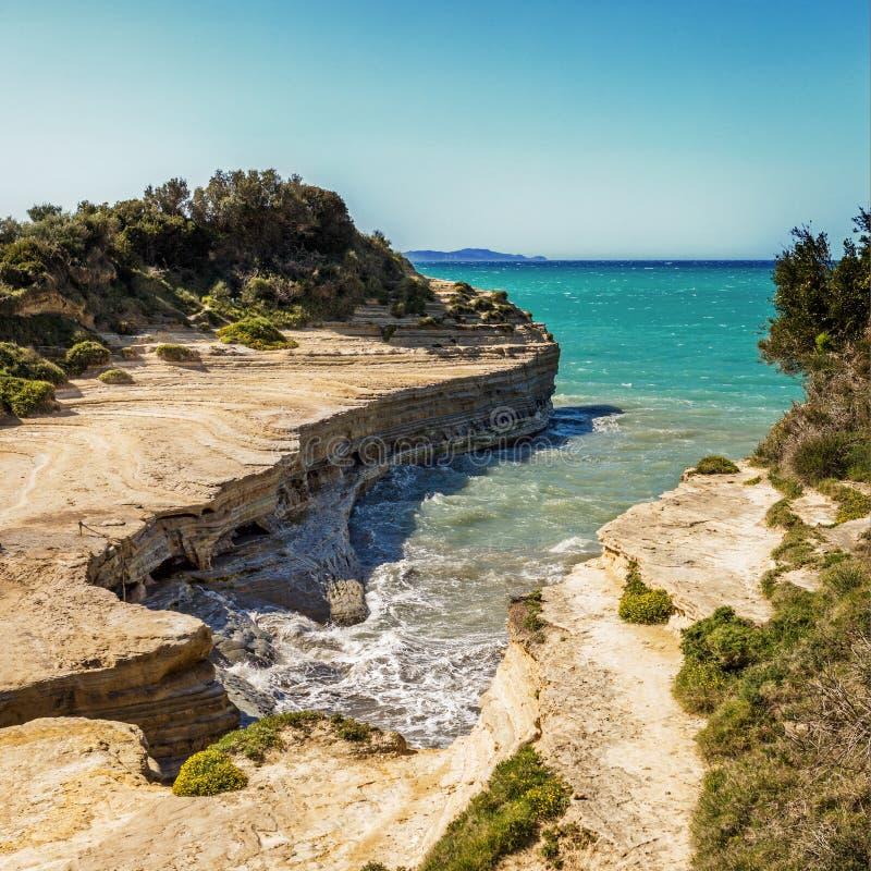 Известный пляж Sidary на острове Корфу, Греции стоковая фотография