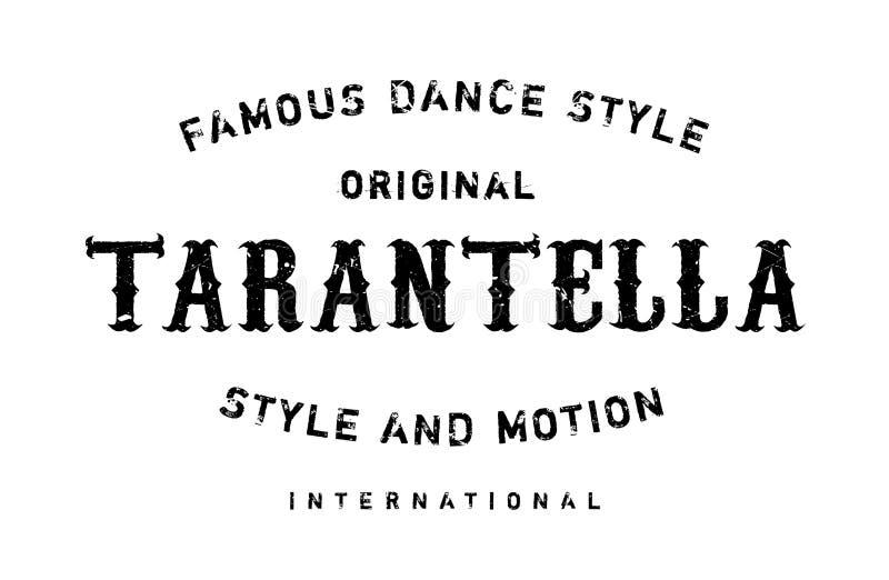 Известный стиль танца, штемпель Tarantella иллюстрация штока