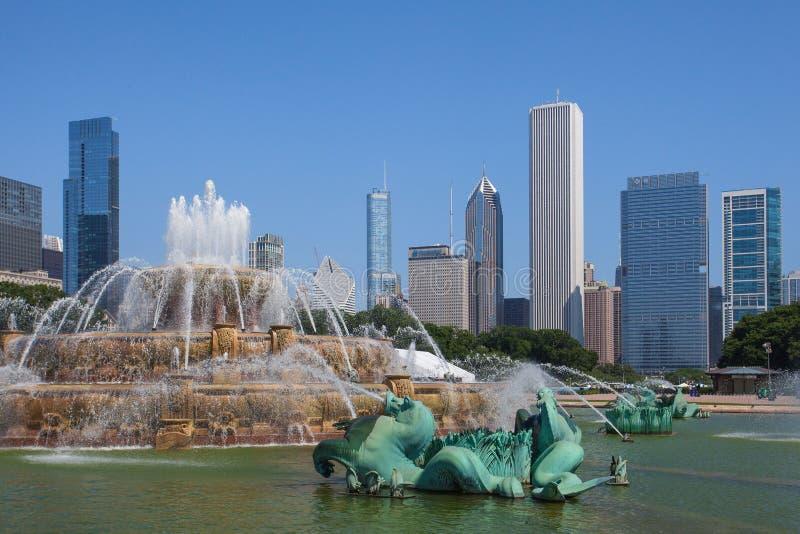 Известный фонтан Buckingham в парке Grant стоковая фотография