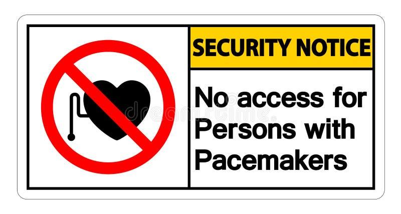 Извещение о безопасностью отсутствие доступа для людей со знаком символа ритмоводителя на белой предпосылке, иллюстрации вектора иллюстрация штока
