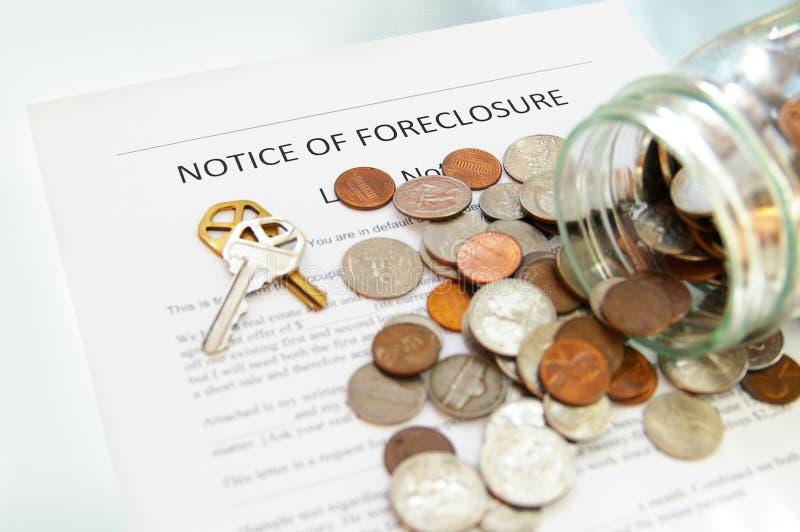 извещение о foreclosure стоковое изображение rf