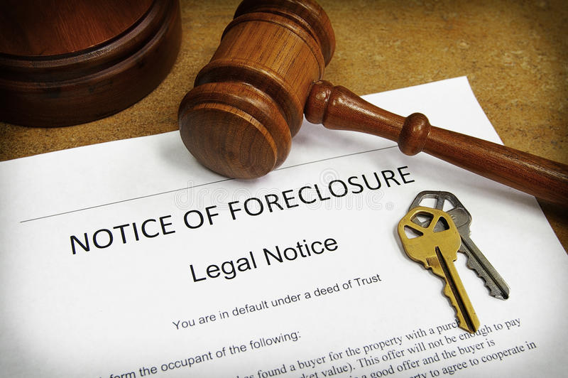 извещение о foreclosure стоковые фото
