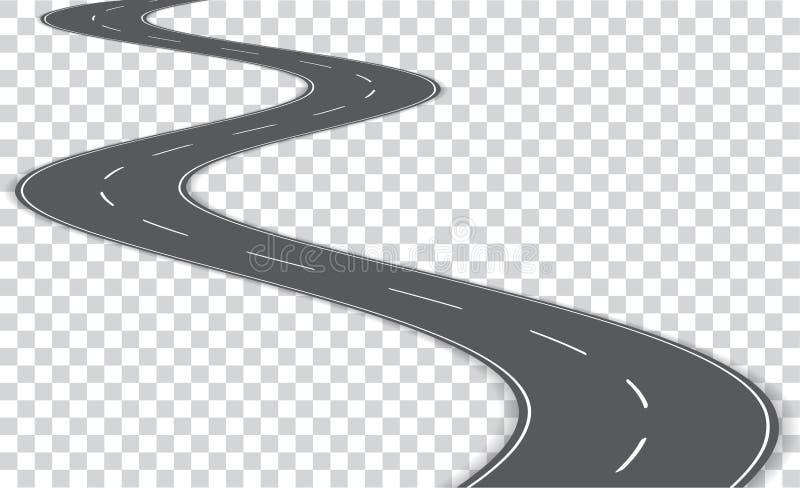 Извилистая дорога вектора на прозрачной предпосылке Вектор e бесплатная иллюстрация
