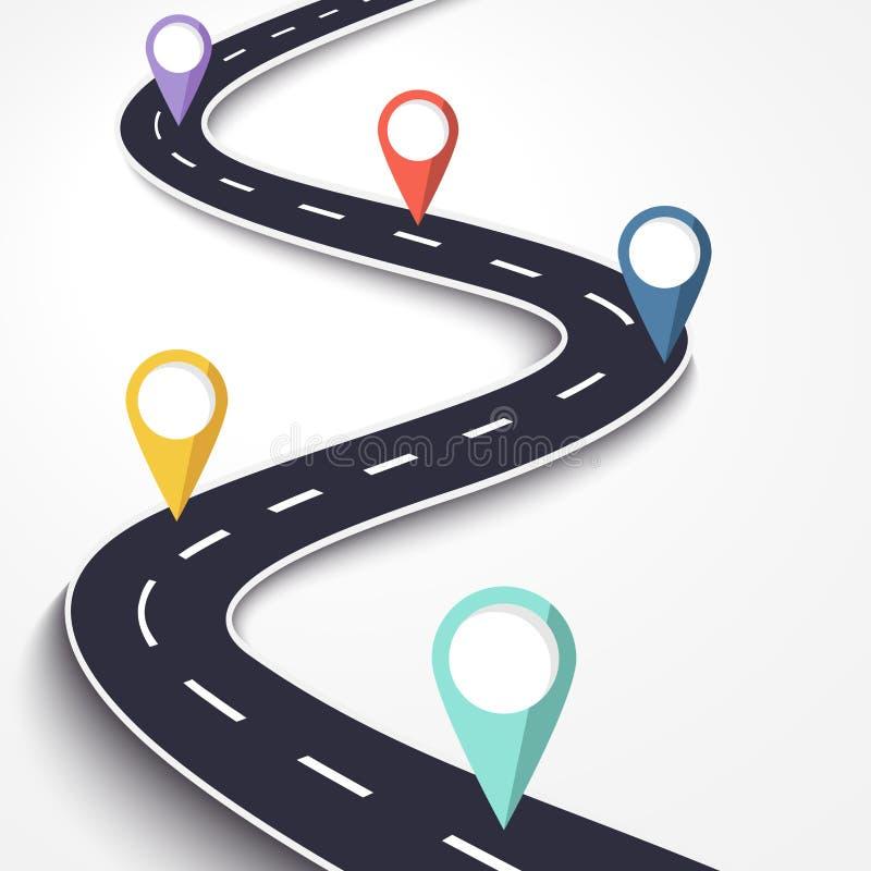 Извилистая дорога на предпосылке изолированной белизной Шаблон положения пути дороги infographic с указателем штыря бесплатная иллюстрация