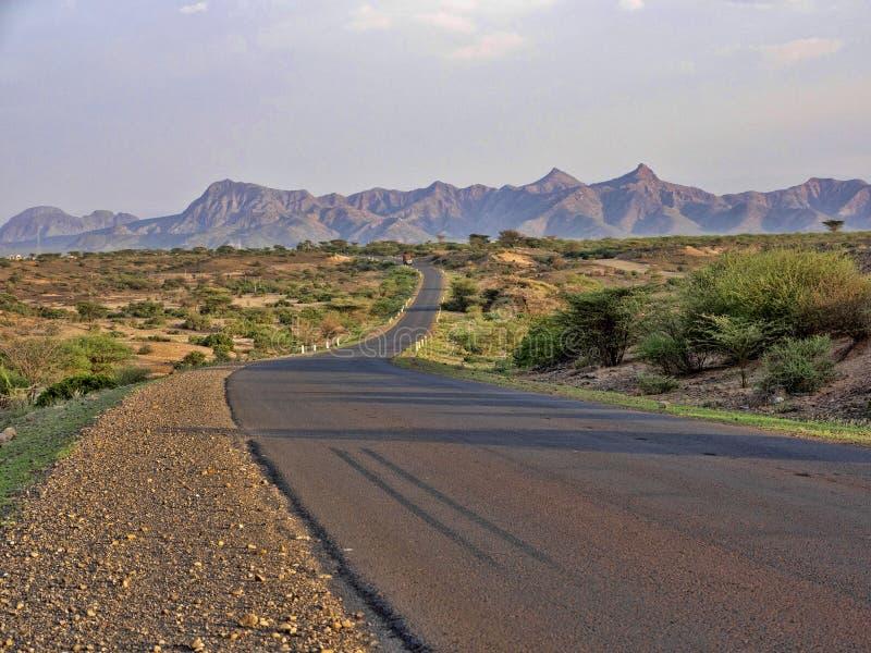Извилистая дорога Afar провинция, Эфиопия стоковые изображения