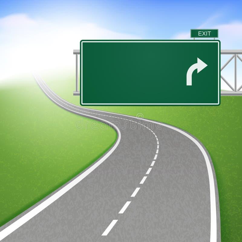 Извилистая дорога с дорожным знаком бесплатная иллюстрация