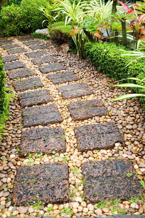 Изгибать каменную дорожку в саде стоковая фотография rf