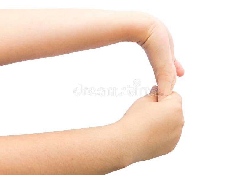 Изгибающ мышцу в наличии для излечите syndrom офиса на изолированном backg стоковые изображения