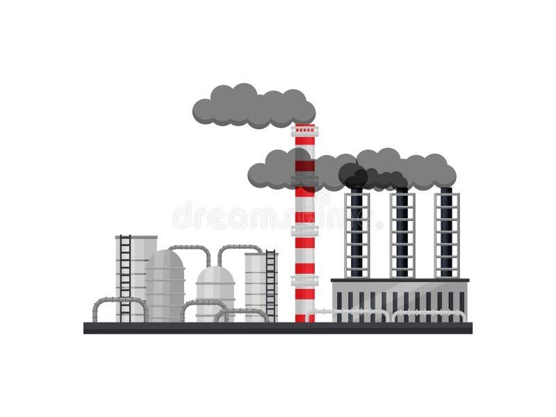 Изготовляя фабрика с цистернами, трубами курения и промышленным зданием Металлургическая продукция Плоский дизайн вектора иллюстрация штока