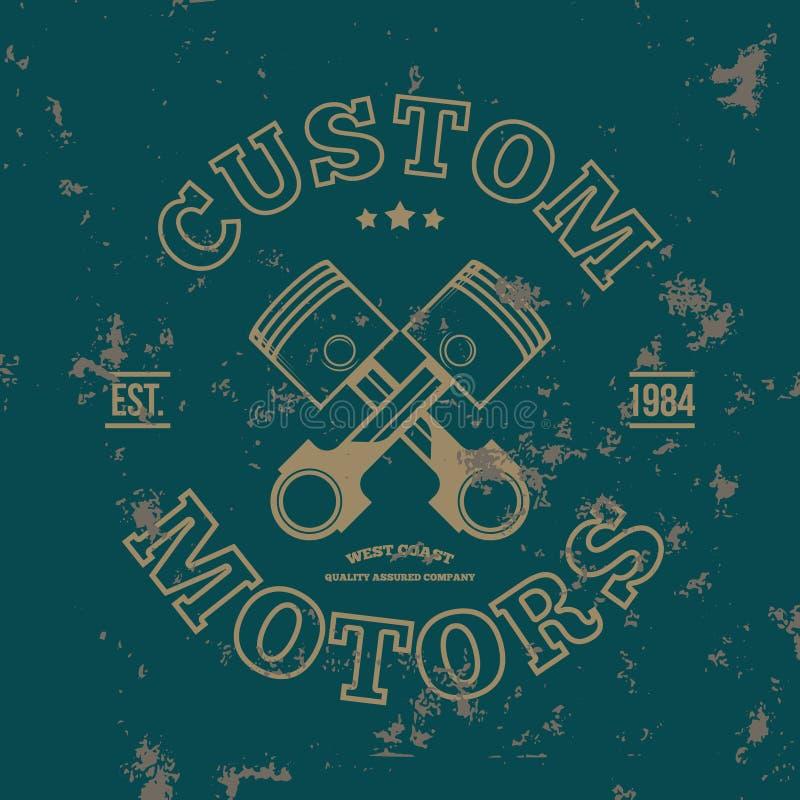 Изготовленные на заказ моторы Графики футболки вектор бесплатная иллюстрация