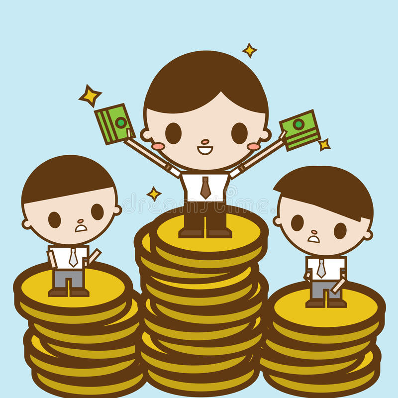 Изменение зарплаты Иллюстрация шаржа концепции дела стоковое изображение rf