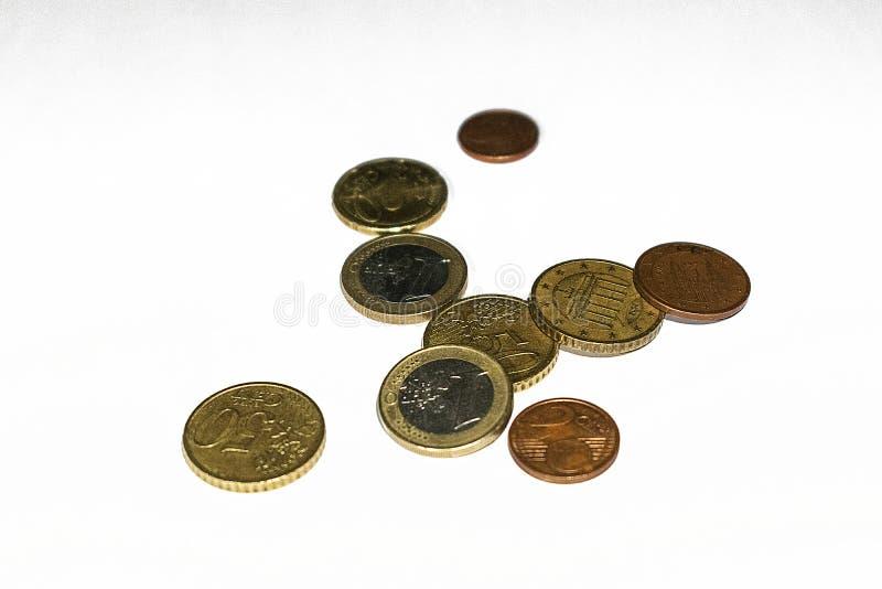 Изменение монетки евро стоковое фото