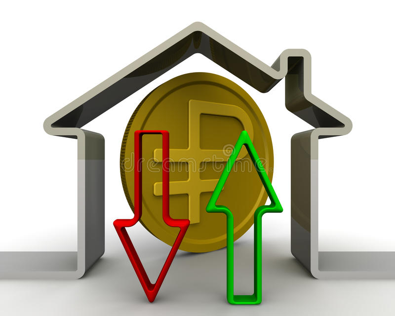 Изменения в цене недвижимости Концепция иллюстрация вектора