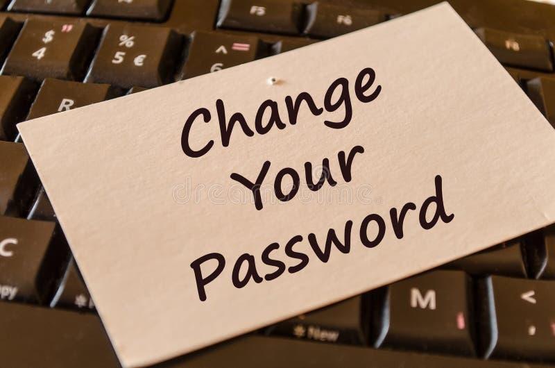 Измените ваше примечание текста пароля стоковые фото