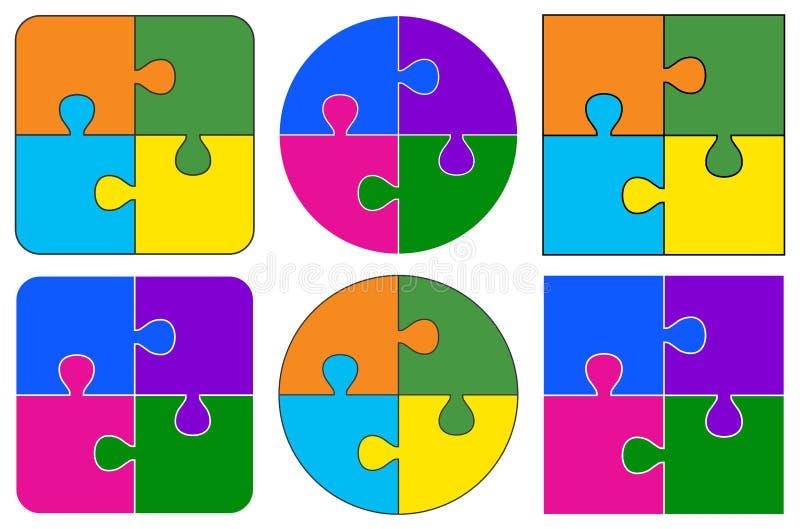 измените головоломку частей eps8 цветов легкую изменяя размеры вектор иллюстрация штока