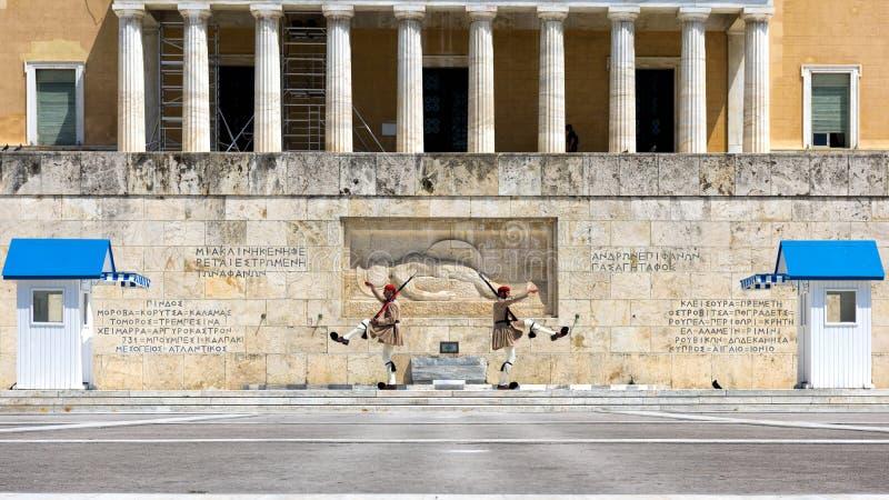 Изменять почетного караула на квадрате синтагмы, Афины стоковая фотография rf