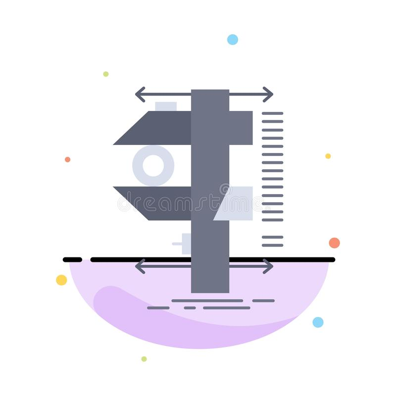 измерение, крумциркуль, крумциркули, физика, вектор значка цвета измерения плоский иллюстрация штока