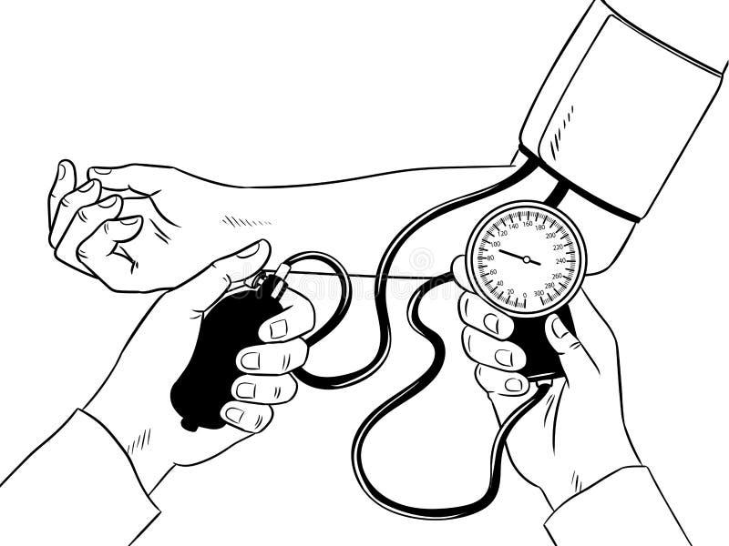 Измерение человеческого вектора книжка-раскраски давления иллюстрация штока