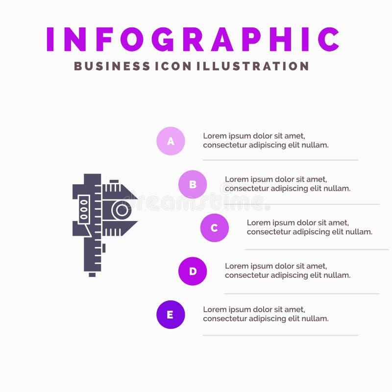 Измеряющ, точность, измерение, небольшая, крошечная твердая предпосылка представления шагов Infographics 5 значка бесплатная иллюстрация