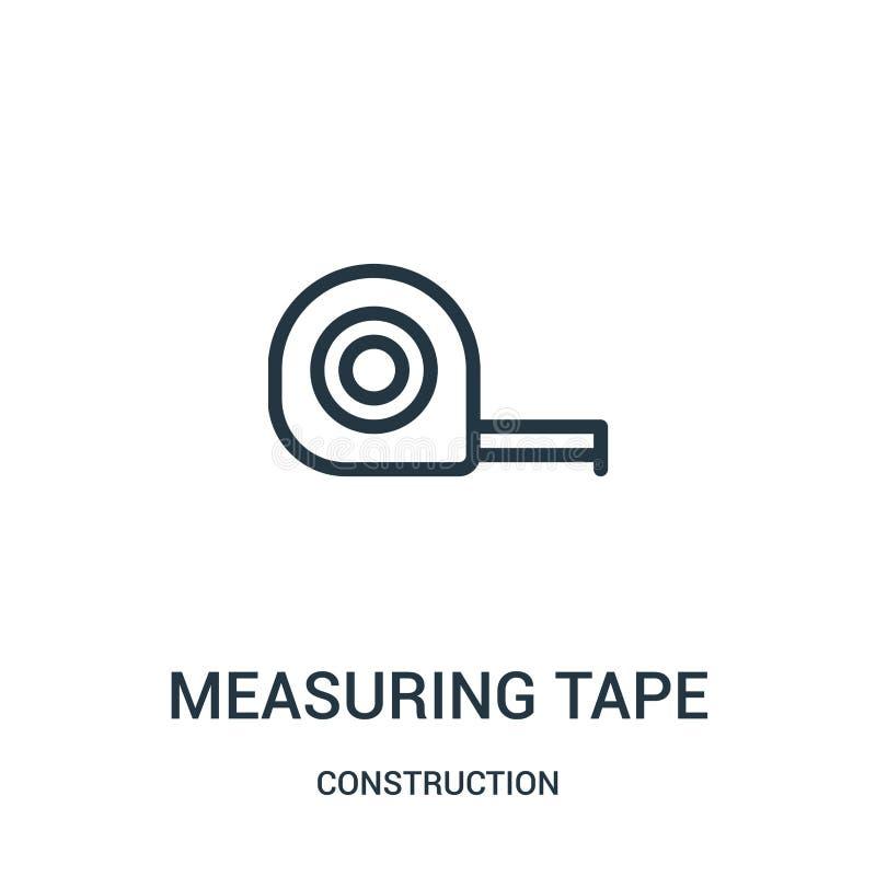 измеряя вектор значка ленты от собрания конструкции Тонкая линия измеряя иллюстрация вектора значка плана ленты иллюстрация штока