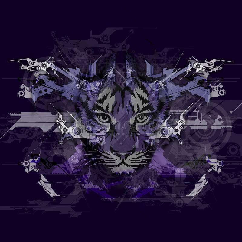 Изображение абстрактного искусства с тигром иллюстрация штока