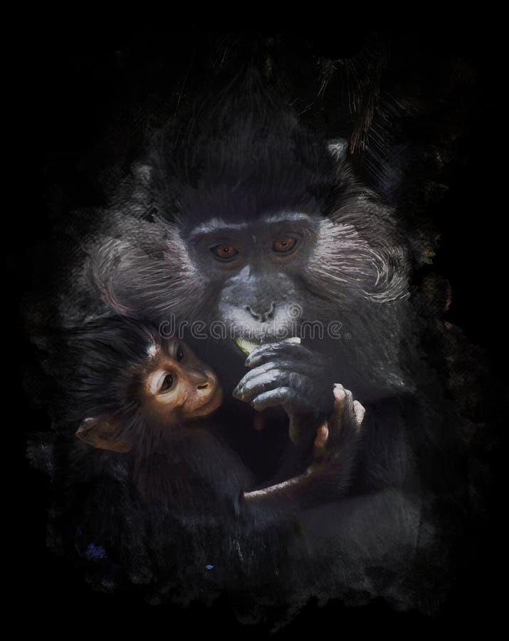 Изображение акварели обезьяны матери и младенца бесплатная иллюстрация
