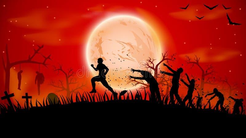 Изображение бега зомби иллюстрация вектора