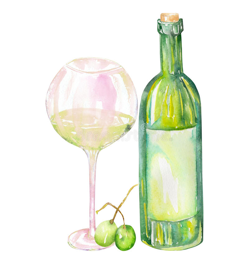 Изображение бутылки белого вина акварели, зеленых виноградин и стекла белого вина Покрашенный нарисованный вручную в акварели на  иллюстрация штока