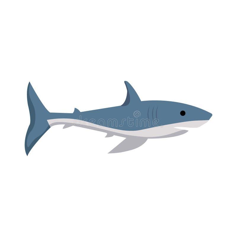 Изображение вектора акулы на белой предпосылке иллюстрация штока